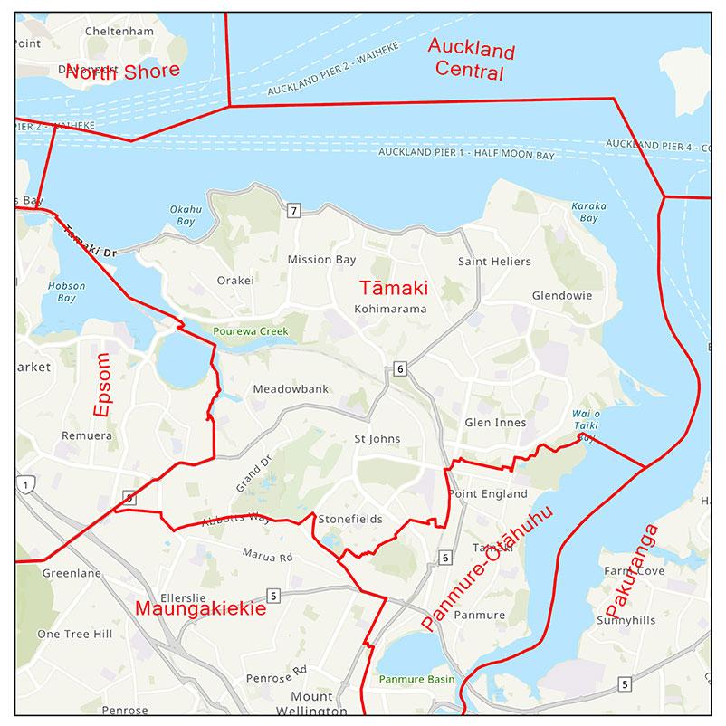 Map of Tamaki electorate boundaries